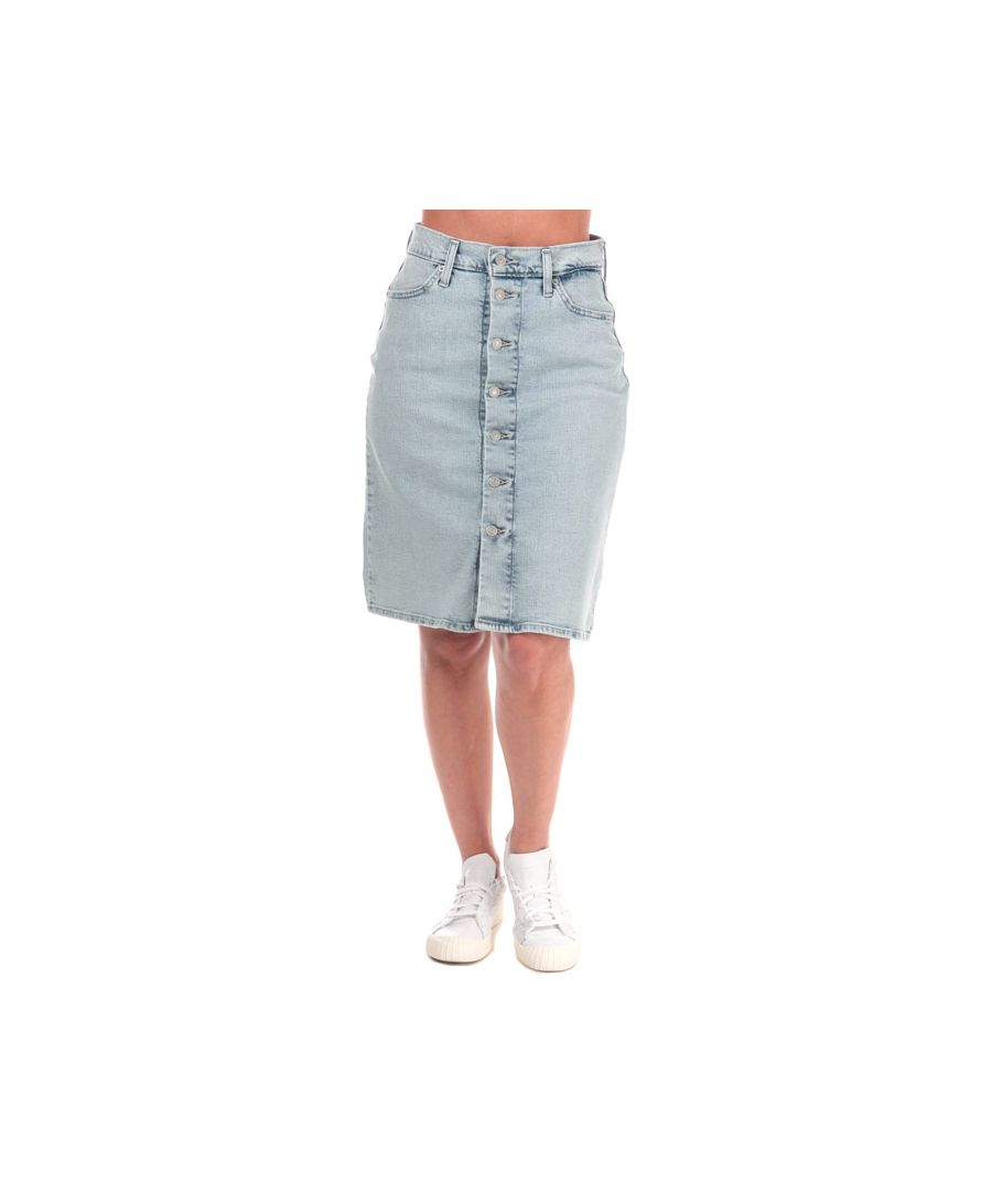 Image for Women's Levis A-Line Midi Button Skirt in Light Blue
