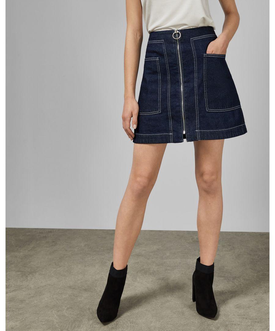 Image for Ted Baker Yazzie Denim Zip Detail Mini Skirt, Dark Blue
