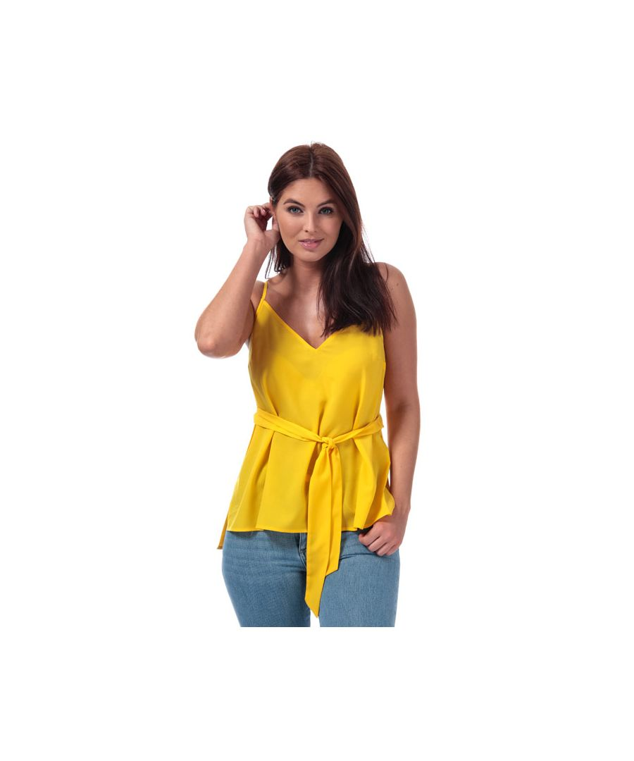 Image for Women's French Connection Dalma Crepe Light Strappy Cami Top in Yellow