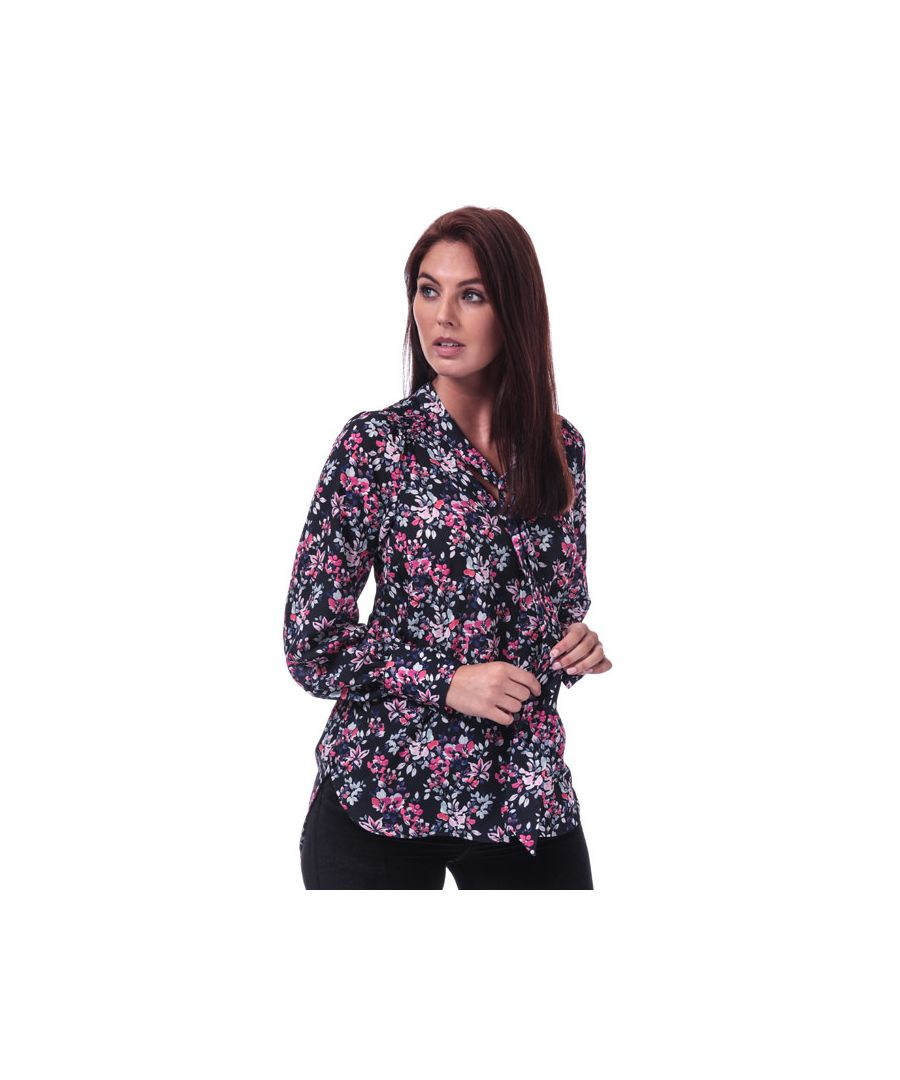 Image for Women's French Connection Linosa Crepe Light Floral Blouse in Blue