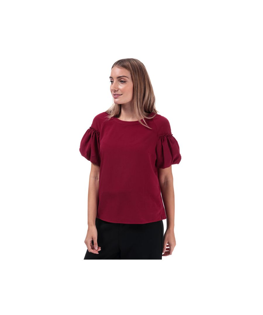Image for Women's French Connection Crepe Light Puff Sleeve Top in Berry