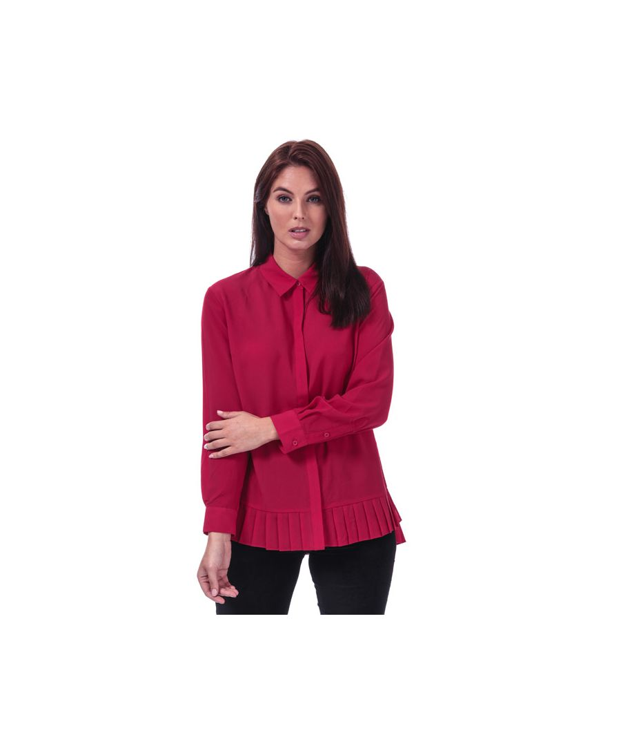 Image for Women's French Connection Crepe Light Pleat Hem Shirt in Red