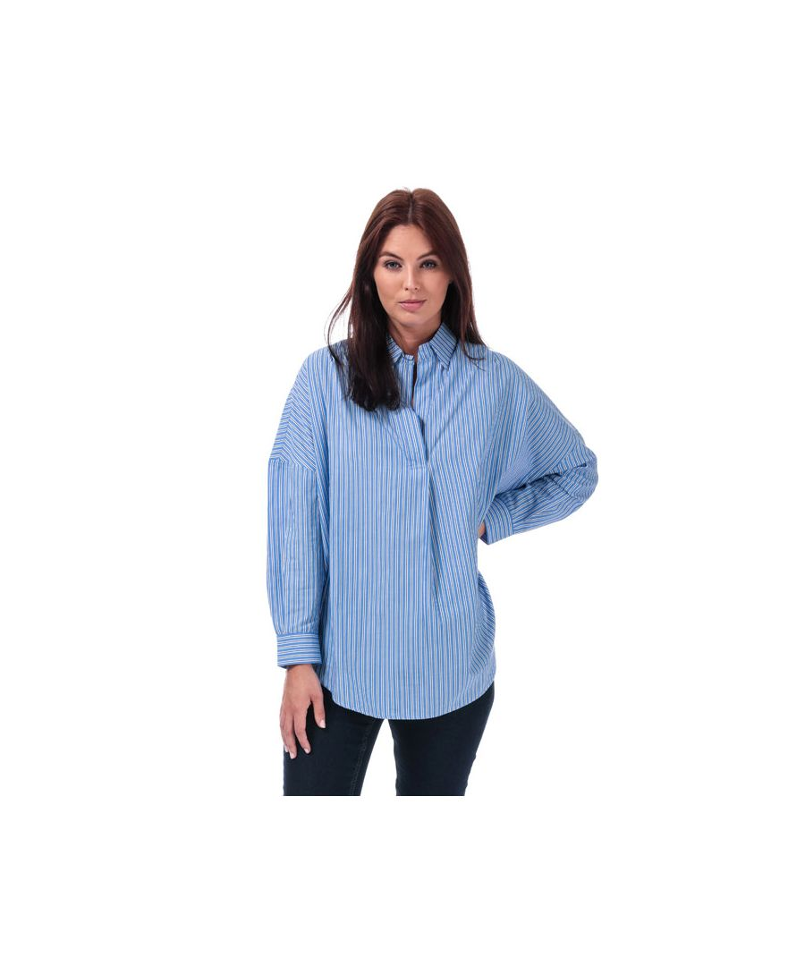 Image for Women's French Connection Bega Stripe Dip Hem Shirt in Blue