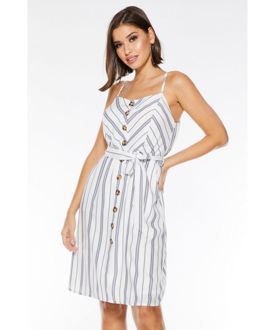 Image for White And Navy Stripe Midi Dress