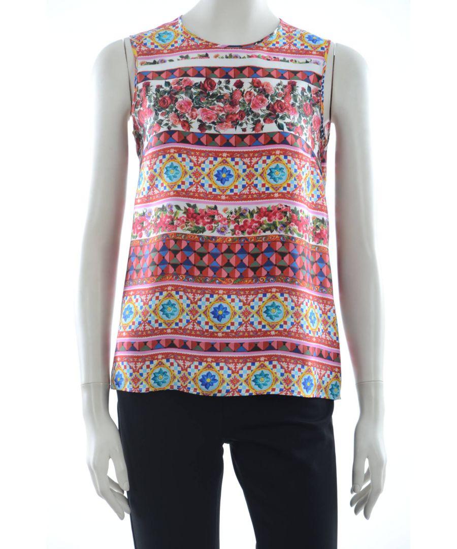 Image for Dolce & Gabbana Women Maiolica Silk Top