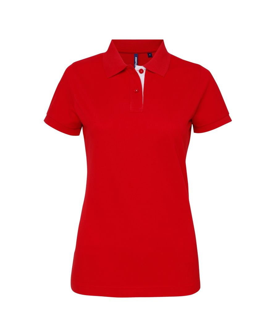 Image for Asquith & Fox Womens/Ladies Short Sleeve Contrast Polo Shirt (Red/ White)