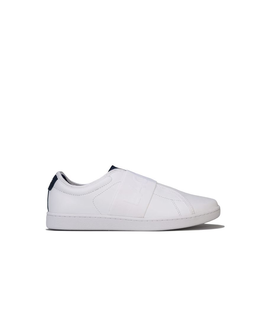 Image for Women's Lacoste Carnaby Evo Leather Slip Trainers in White Navy