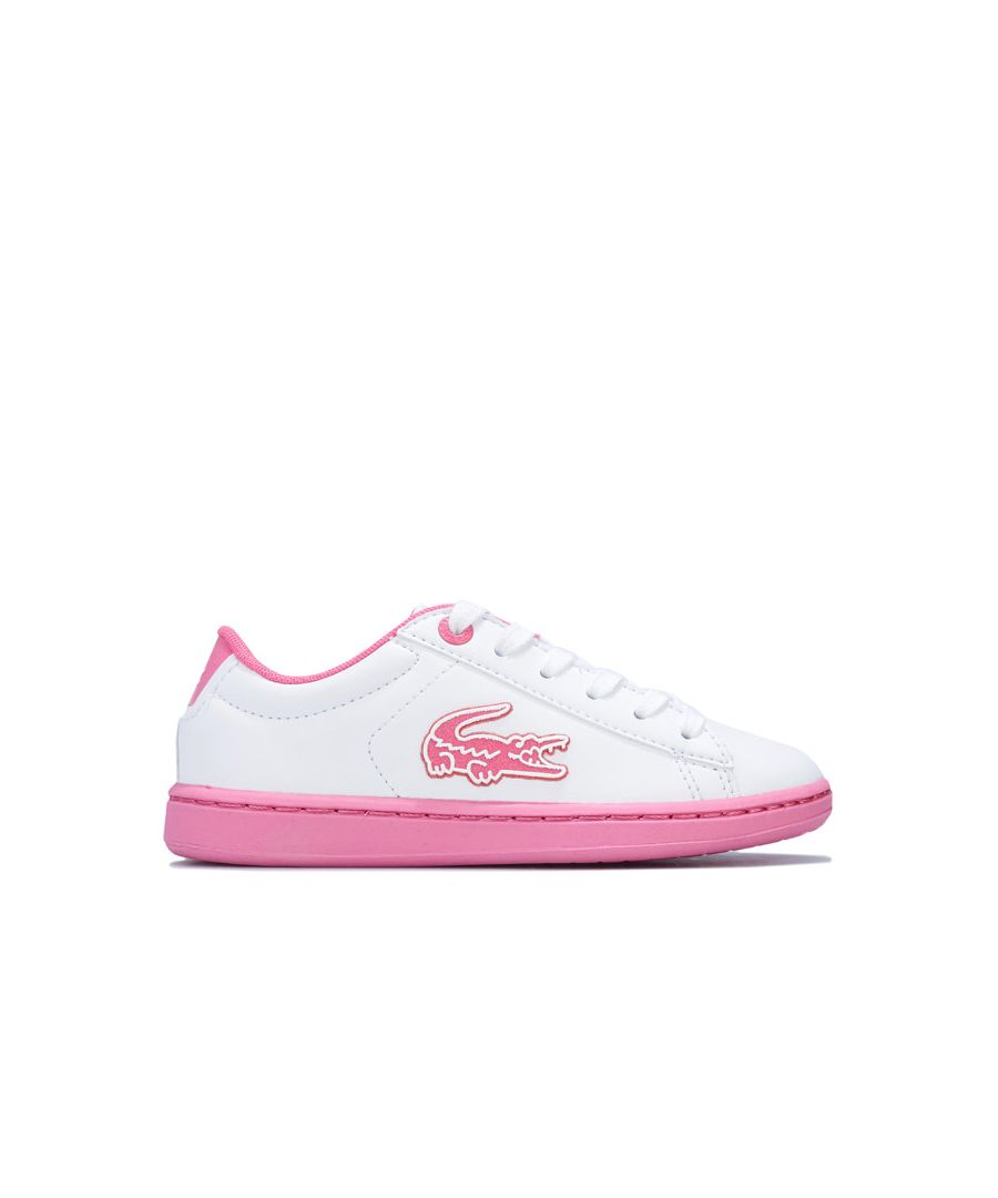 Image for Girl's Lacoste Infant Carnaby Evo Trainers in White pink