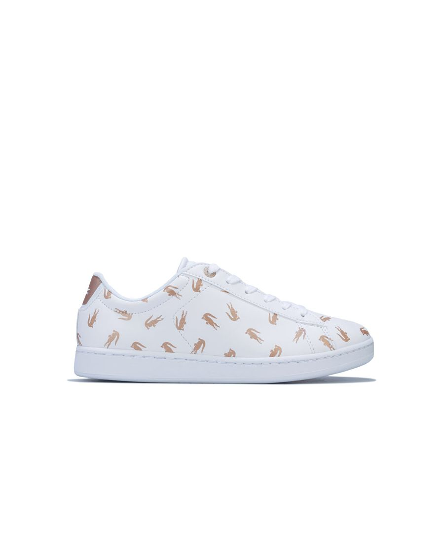 Image for Girl's Lacoste Junior Carnaby Evo Trainers in White gold