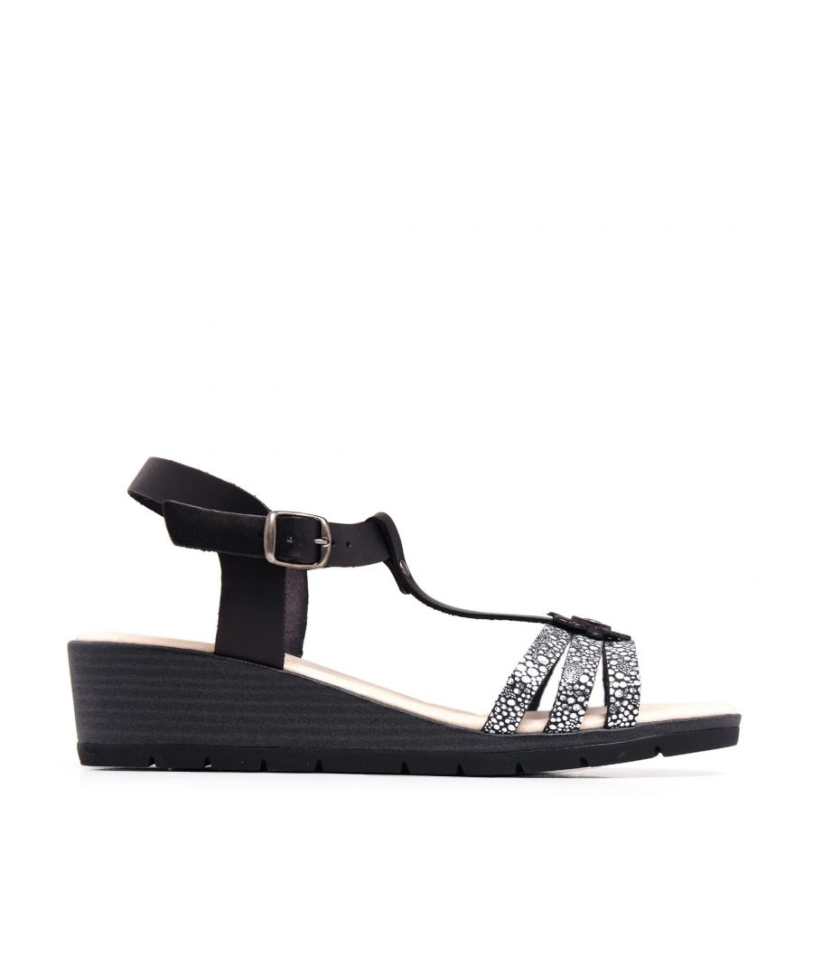 Image for Wedge Leather Sandals Black Women Summer Castellanisimos