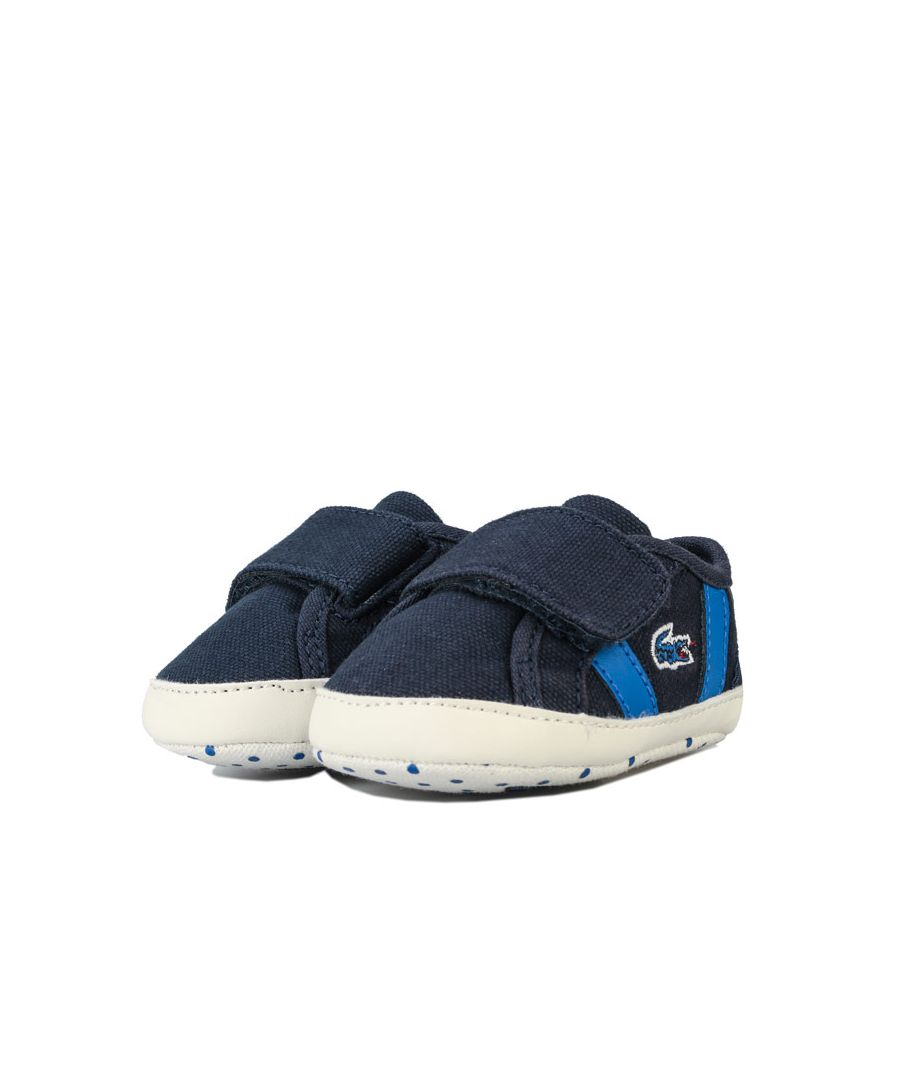 Image for Boy's Lacoste Baby Sideline Crib Trainers in navy green