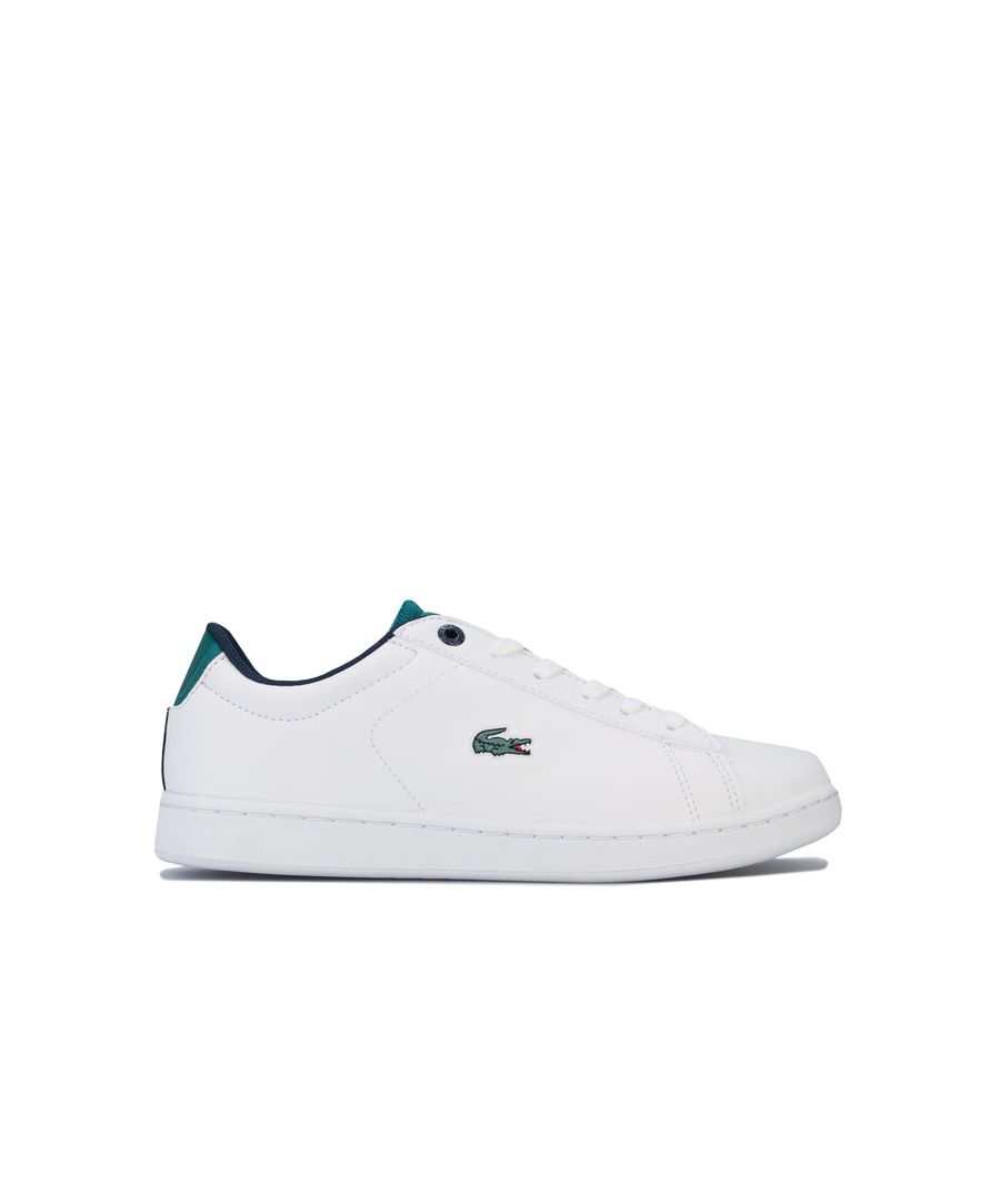 Image for Boy's Lacoste Children Carnaby Evo Trainers in White Green