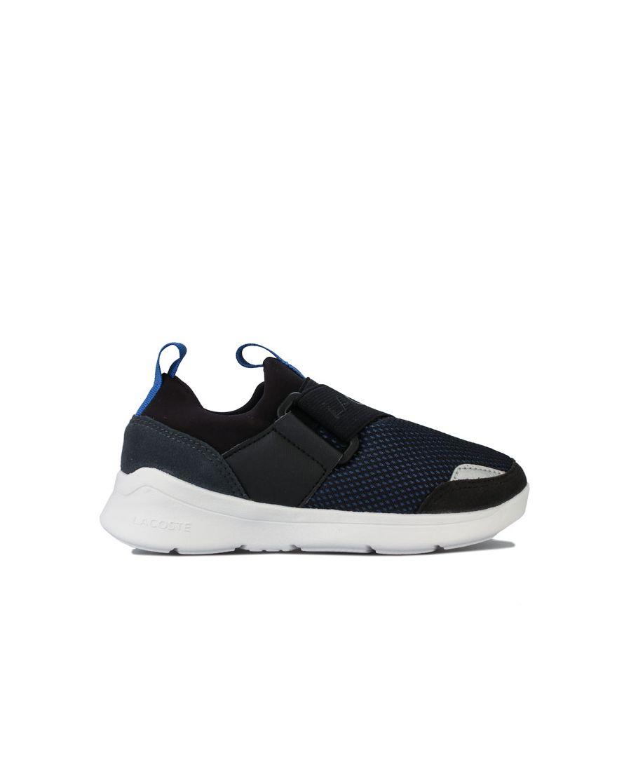 Image for Boy's Lacoste Children LT Dash Slip Trainers in black blue
