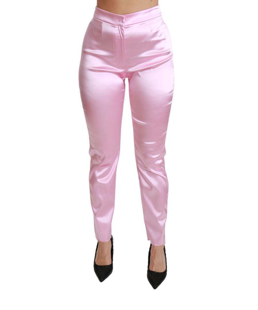 Image for Dolce & Gabbana Pink Metallic High Waist Skinny Pants