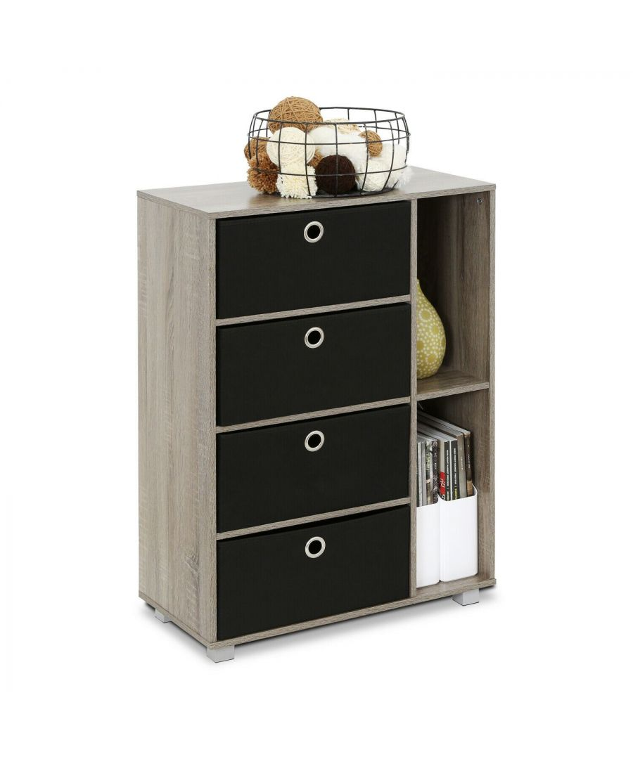 Image for Furinno Andrey Multipurpose Storage Cabinet with Bin Drawers - French Oak Grey with Black Bins