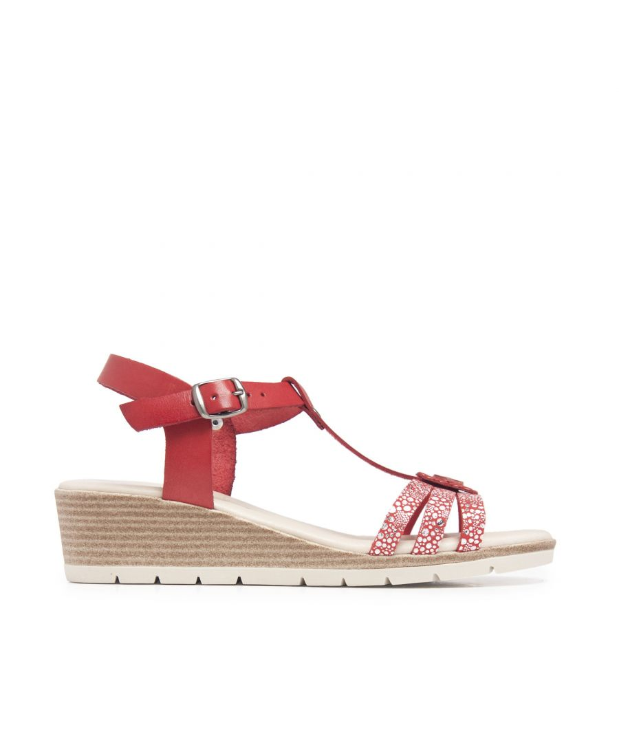 Image for Wedge Leather Sandals Red Women Summer Castellanisimos