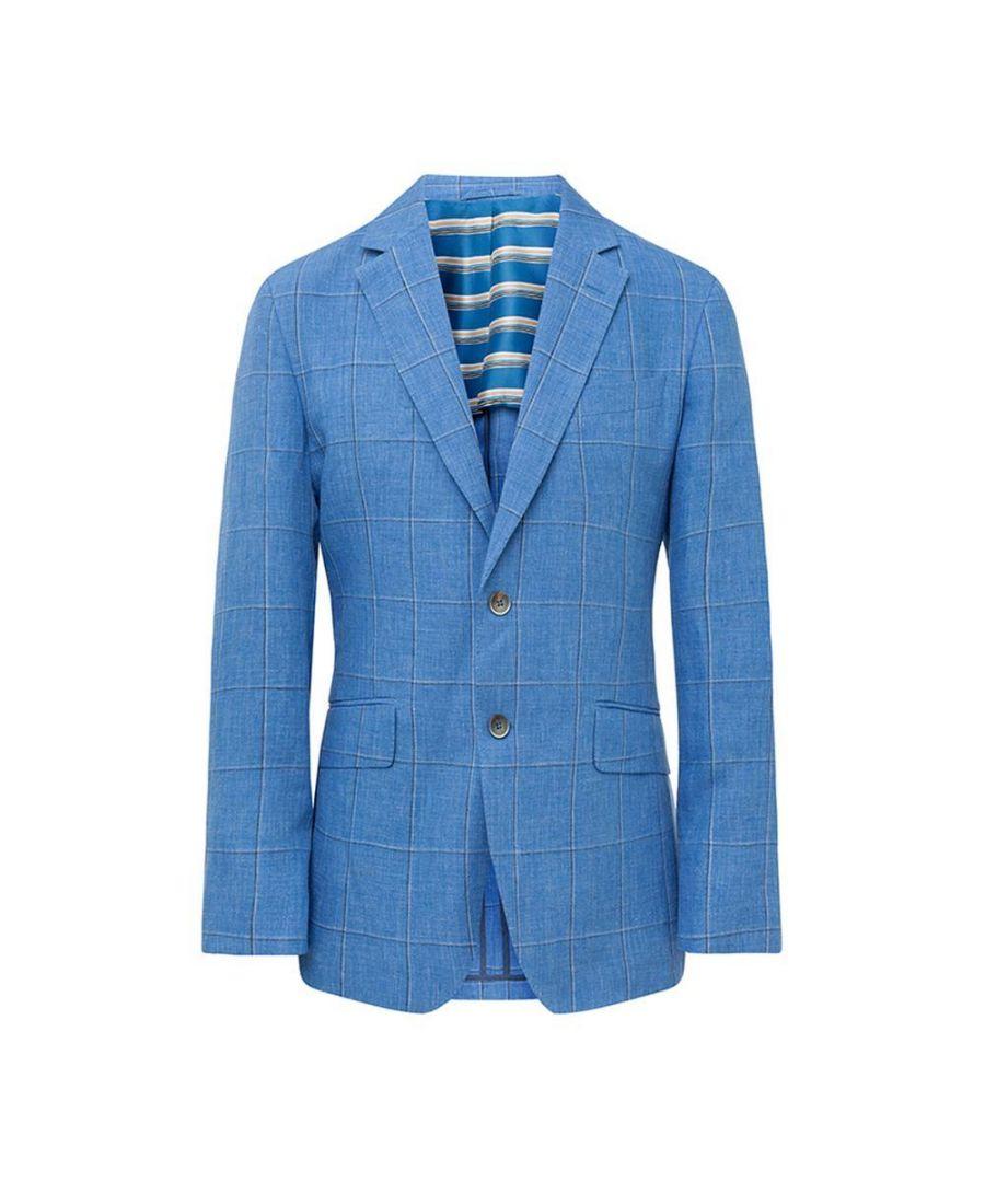 Image for Men's Hackett, Linen Windowpane Jacket in Steel Blue