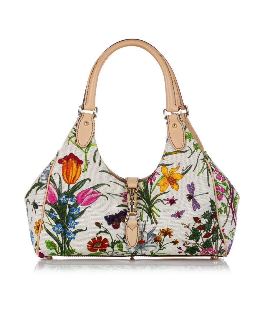 Image for Vintage Gucci Flora Bardot Canvas Shoulder Bag White