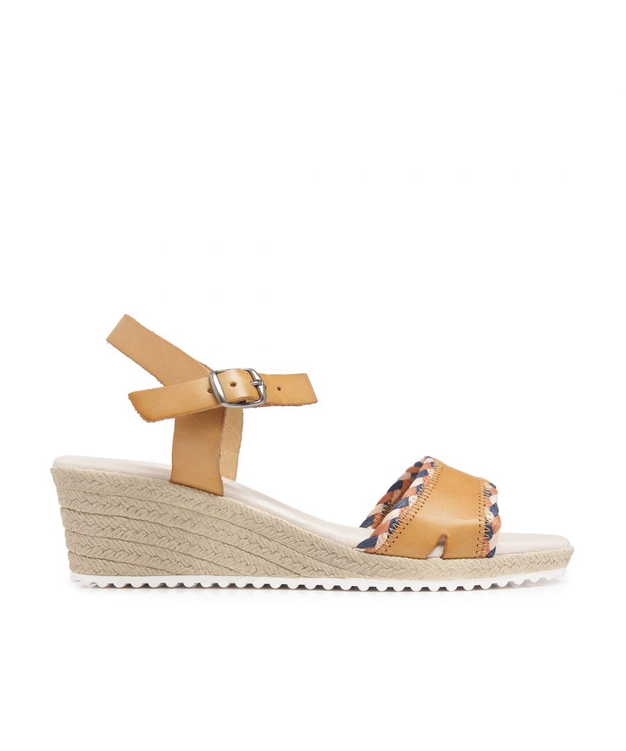 Image for Wedge Leather Sandals Yellow Women Summer Castellanisimos