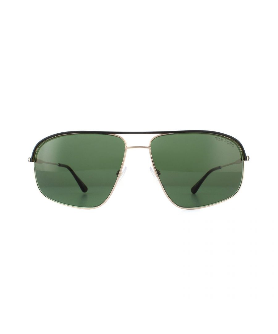 Image for Tom Ford Sunglasses 0467 Justin Black Rose Gold Green