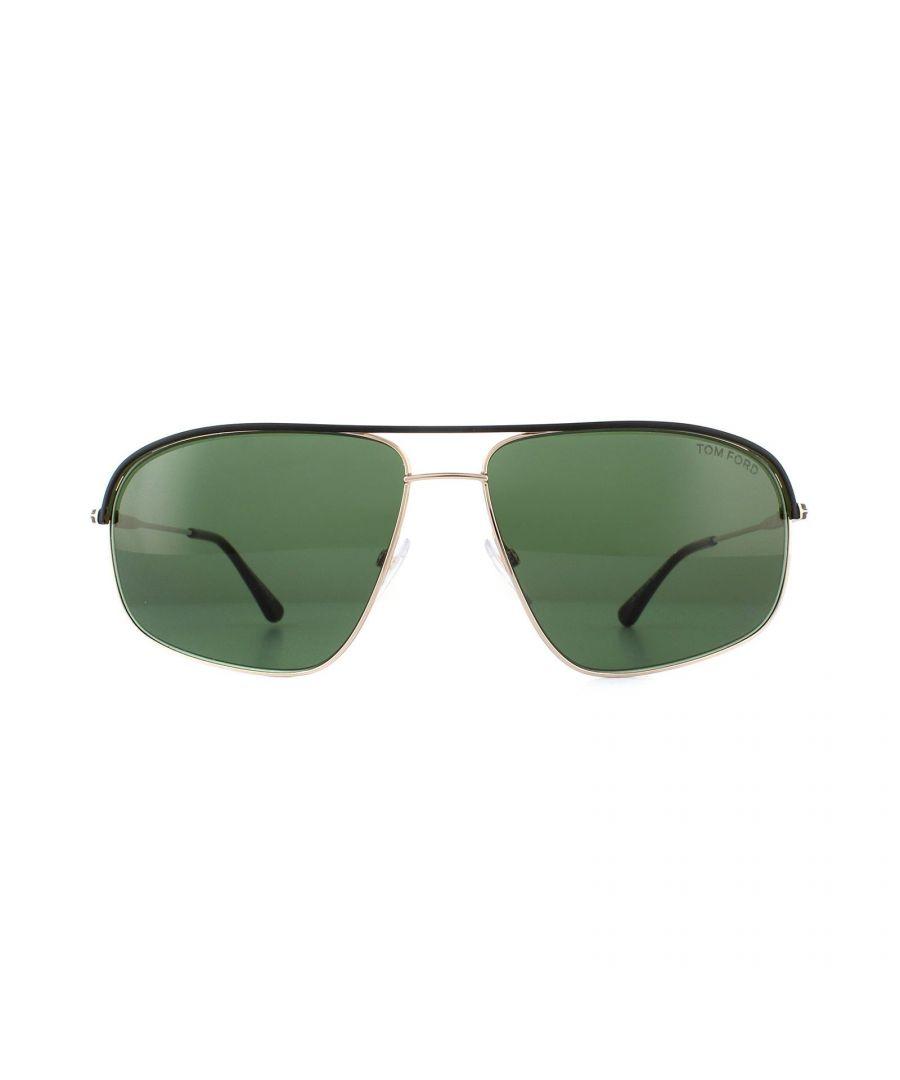 Image for Tom Ford Sunglasses 0467 Justin Black Rose Gold Green