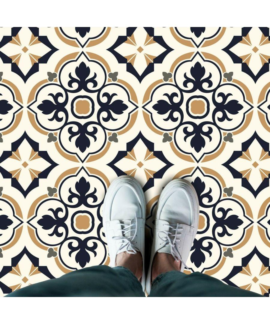 Image for WFS6027 - European Vintage Floral Pattern Tiles Floor Stickers 120cm x 60 cm