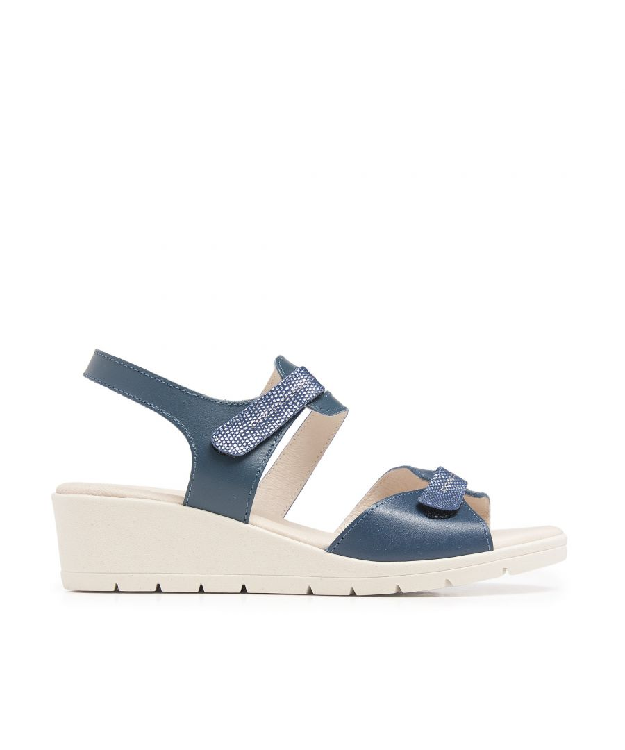 Image for Wedge Leather Sandals Marine Blue Women Summer Castellanisimos