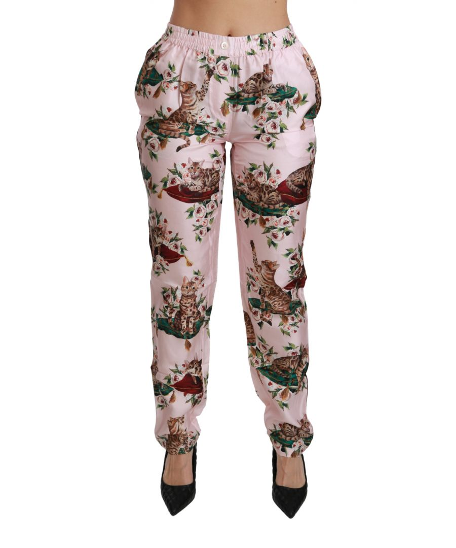 Image for Dolce & Gabbana Pink Bengal Cat Trousers Silk Pants