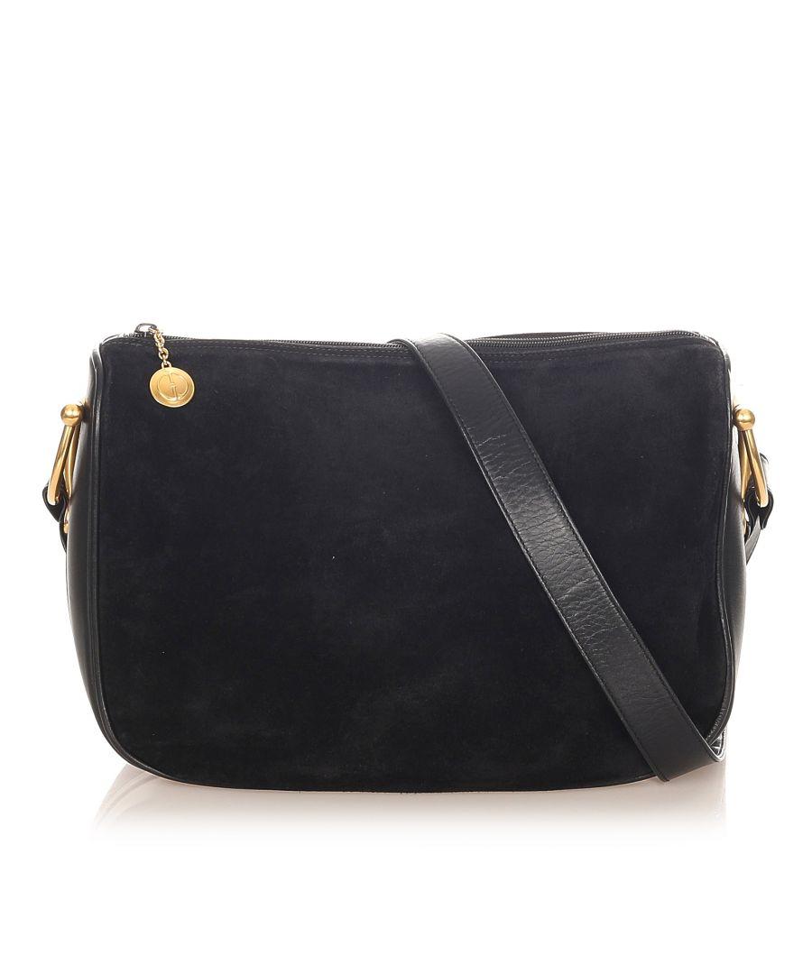 Image for Vintage Gucci Horsebit Suede Shoulder Bag Black