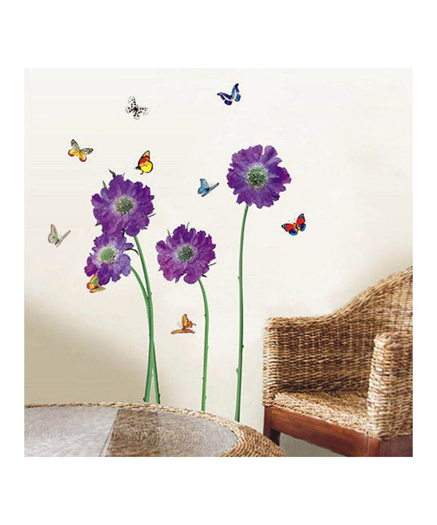 Image for Purple Flower Self Adhesive DIY Wall Sticker, Living room wall sticker