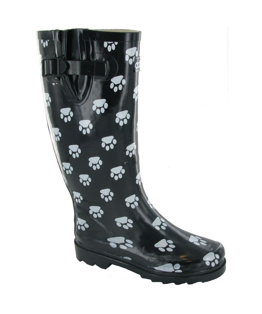 Image for Cotswold Collection Dog Paw Welly / Womens Boots (Black)