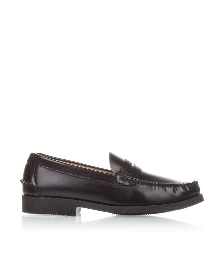 Image for Leather Moccasins for Men Rubber Sole Castellanisimos Black