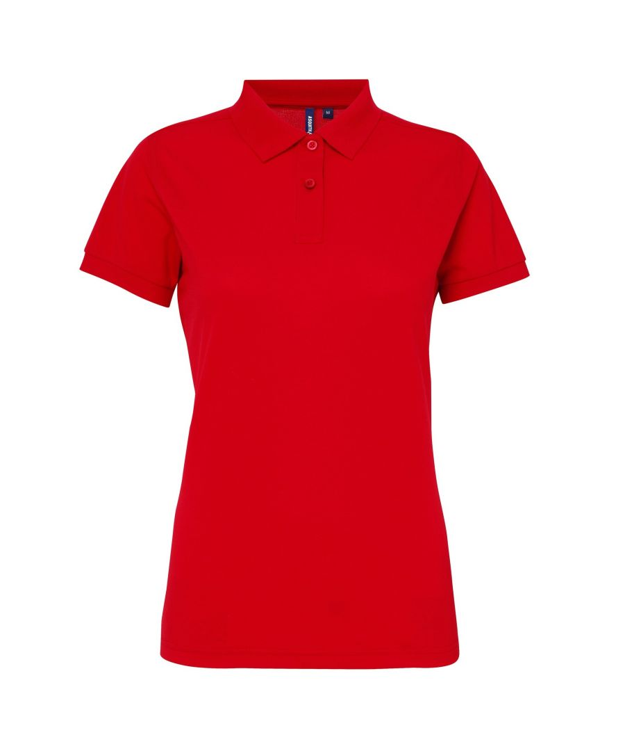 Image for Asquith & Fox Womens/Ladies Short Sleeve Performance Blend Polo Shirt (Cherry Red)