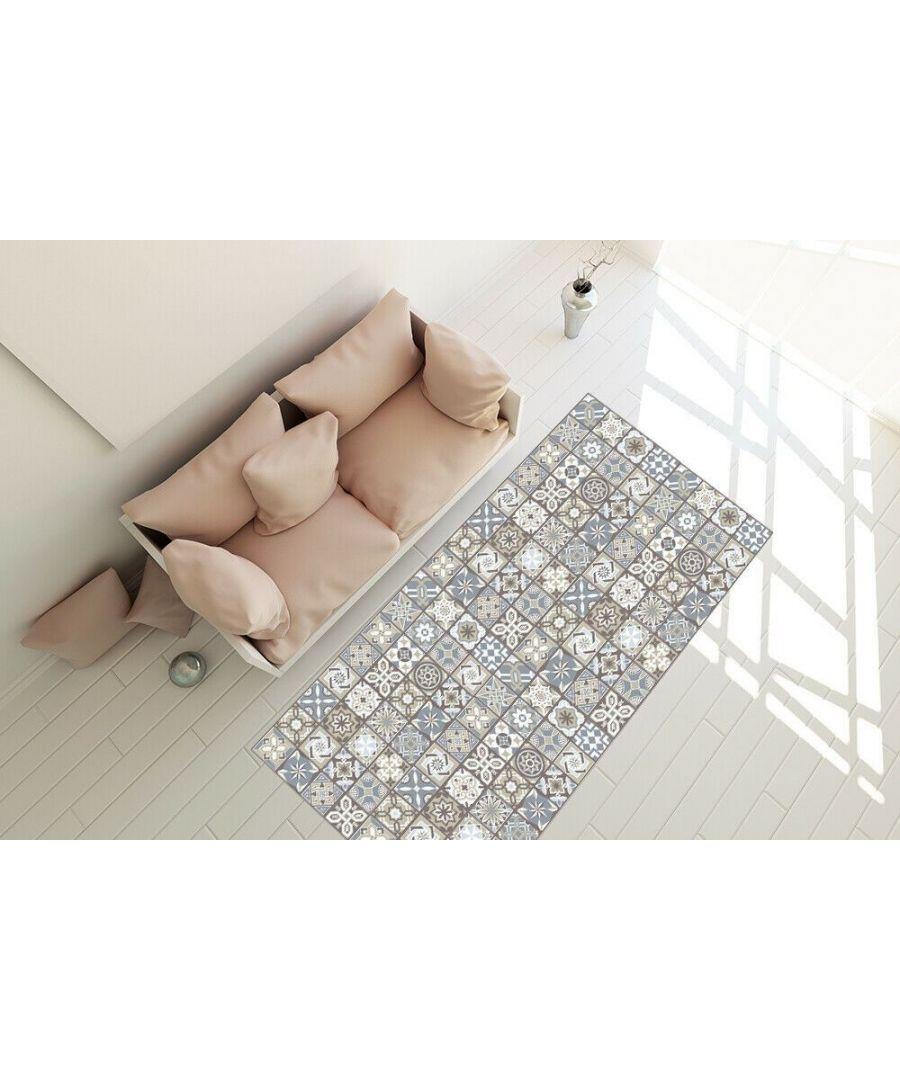 Image for Limestone Spanish Tiles Vinyl Rug Mat 120cm x 60 cm Floor Mats, Floor Rugs