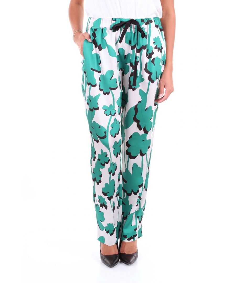 Image for LES COPAINS WOMEN'S 0J3025WHITEGREEN WHITE VISCOSE PANTS
