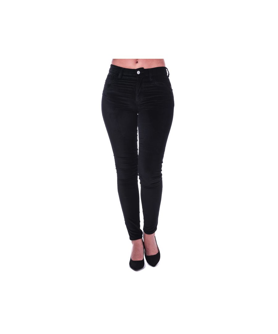 Image for Women's French Connection Ryha Velvet High Rise Skinny Jeans in Black