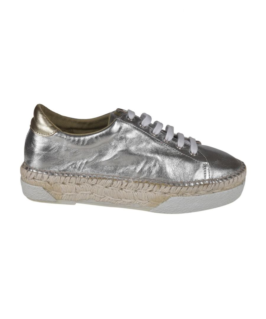 Image for ESPADRILLES WOMEN'S IRISNAPABLANCO SILVER LEATHER SNEAKERS