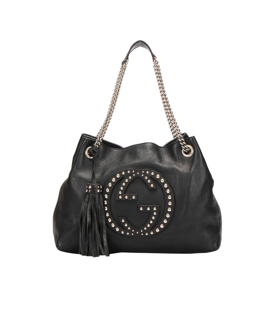 Image for Vintage Gucci Soho Chain Leather Tote Bag Black