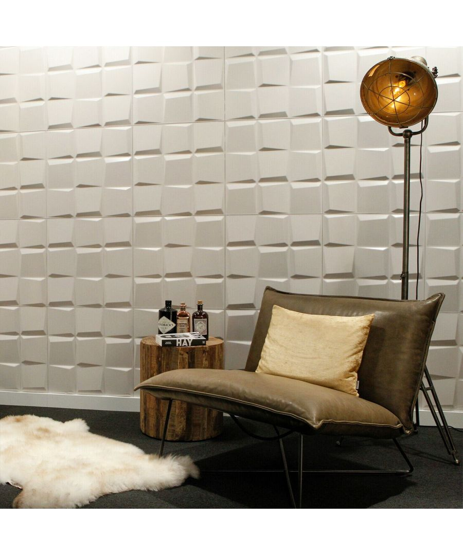 Image for Oberon Eco Friendly 3D Wall Panels Decorative Tiles - 50x50 cm - 12 Boards (for 3 sqm2) 3D Wall Panels, Wallpaper Living Room