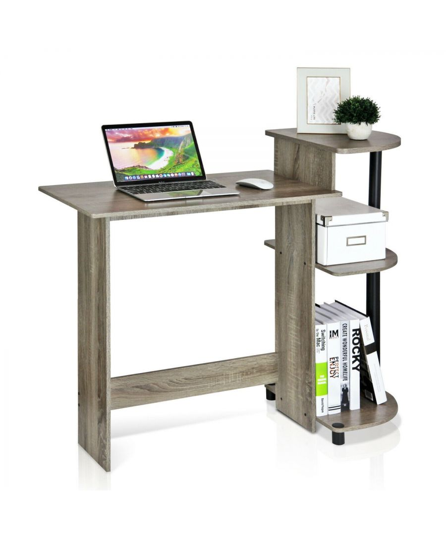 Image for Furinno Compact Computer Desk with Shelves, French Oak Grey/Black