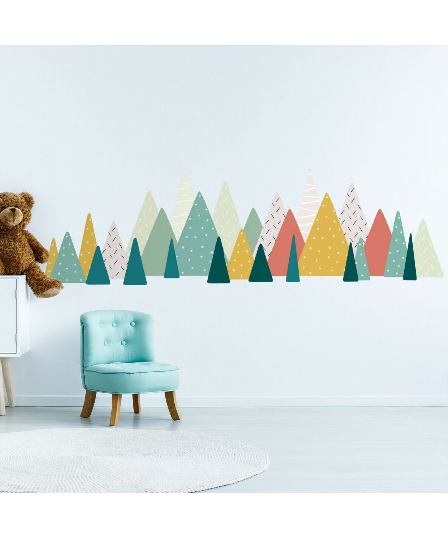 Image for Large Scandinavian Mountains Mix - Green and Colourful Pattern - Wall Stickers Kids Room, nursery, children's room, boy, girl 215 cm x 65 cm