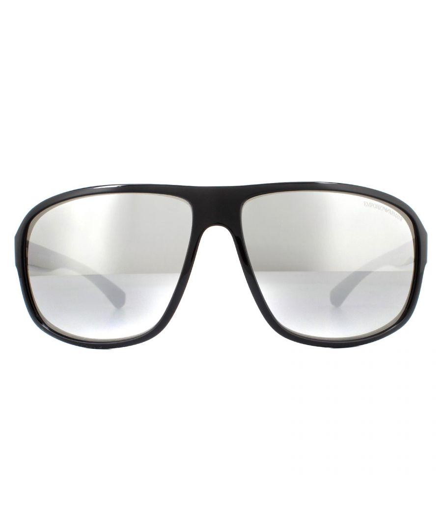 Image for Emporio Armani Sunglasses EA4130 50176G Black Light Grey Silver Mirror