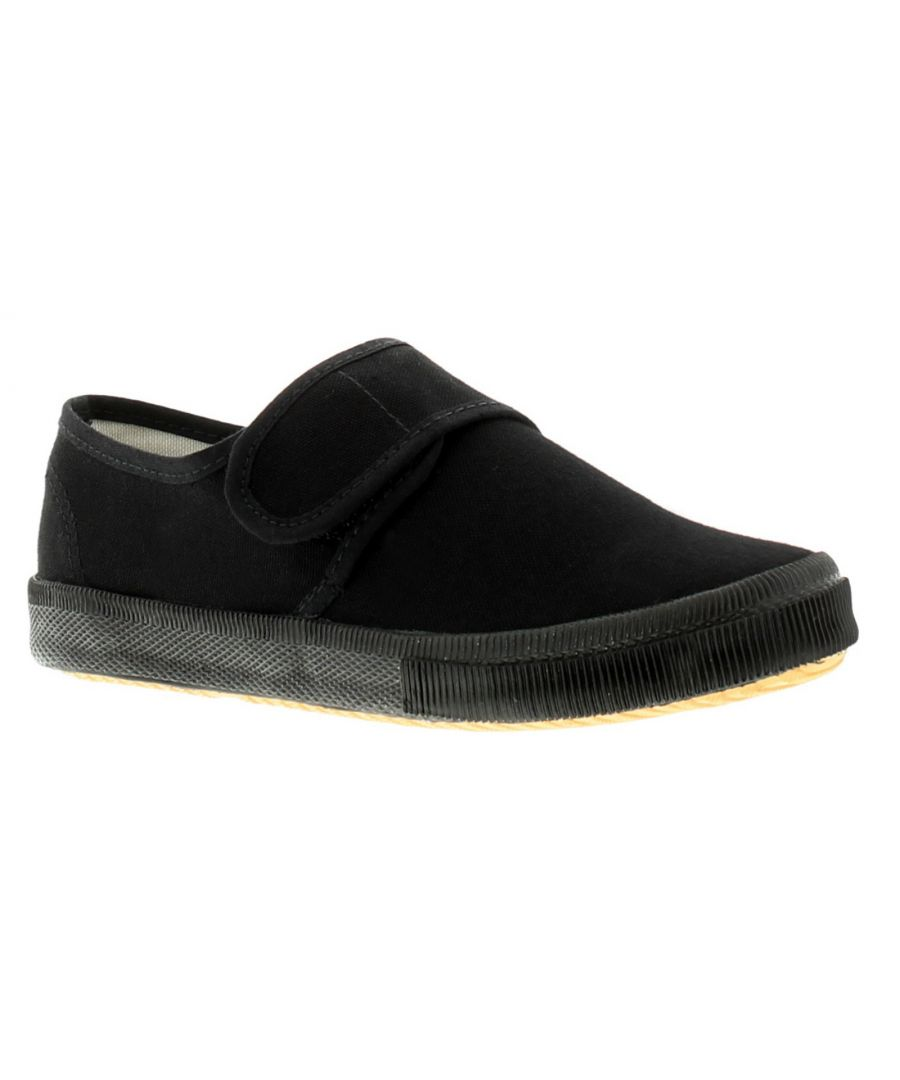 Image for New Childrens Black Touch Fasten School Pumps (Please Note Sizes 5-3)