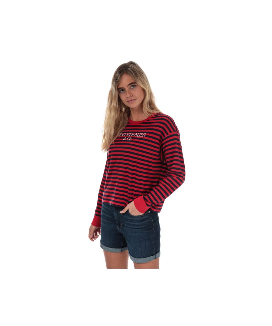 Image for Women's Levis Graphic Long Sleeve Stripe T-Shirt in Red