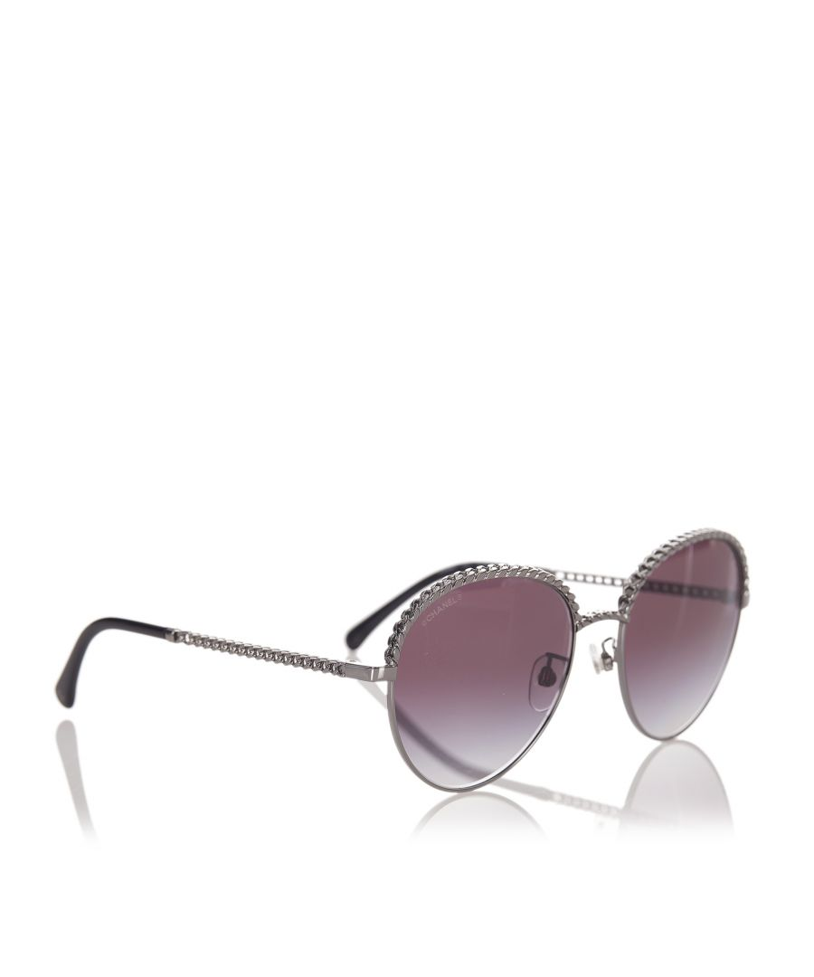 Image for Vintage Chanel Round Tinted Sunglasses Silver