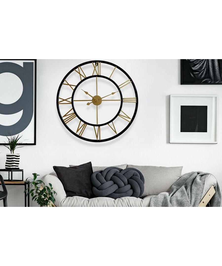 Image for Walplus Black & Gold Roman Wall Clock 76cm Diameter clock, Bedroom, Living room, Modern, Home office essential, Gift
