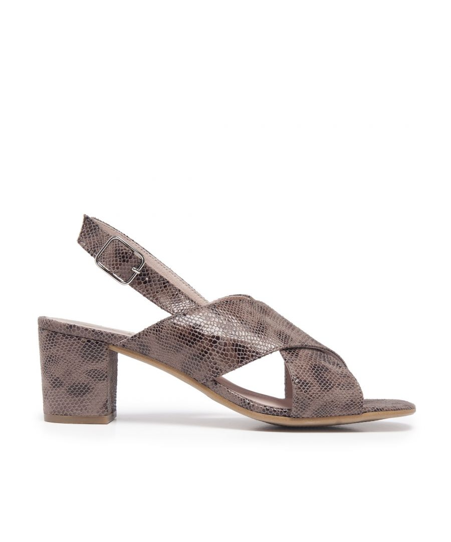 Image for Leather Sandals Heel for Women Heeled Brown Shoes Eva Lopez