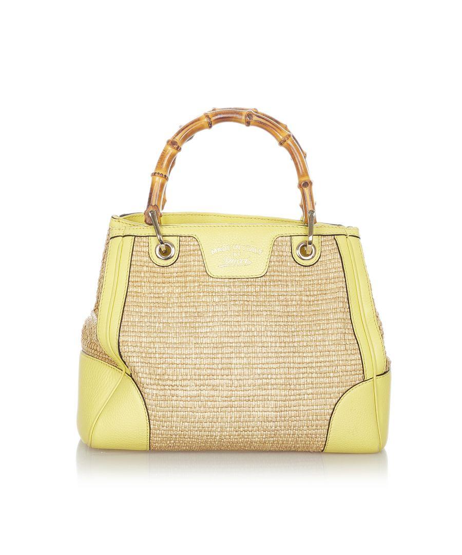 Image for Vintage Gucci Bamboo Shopper Raffia Handbag Brown