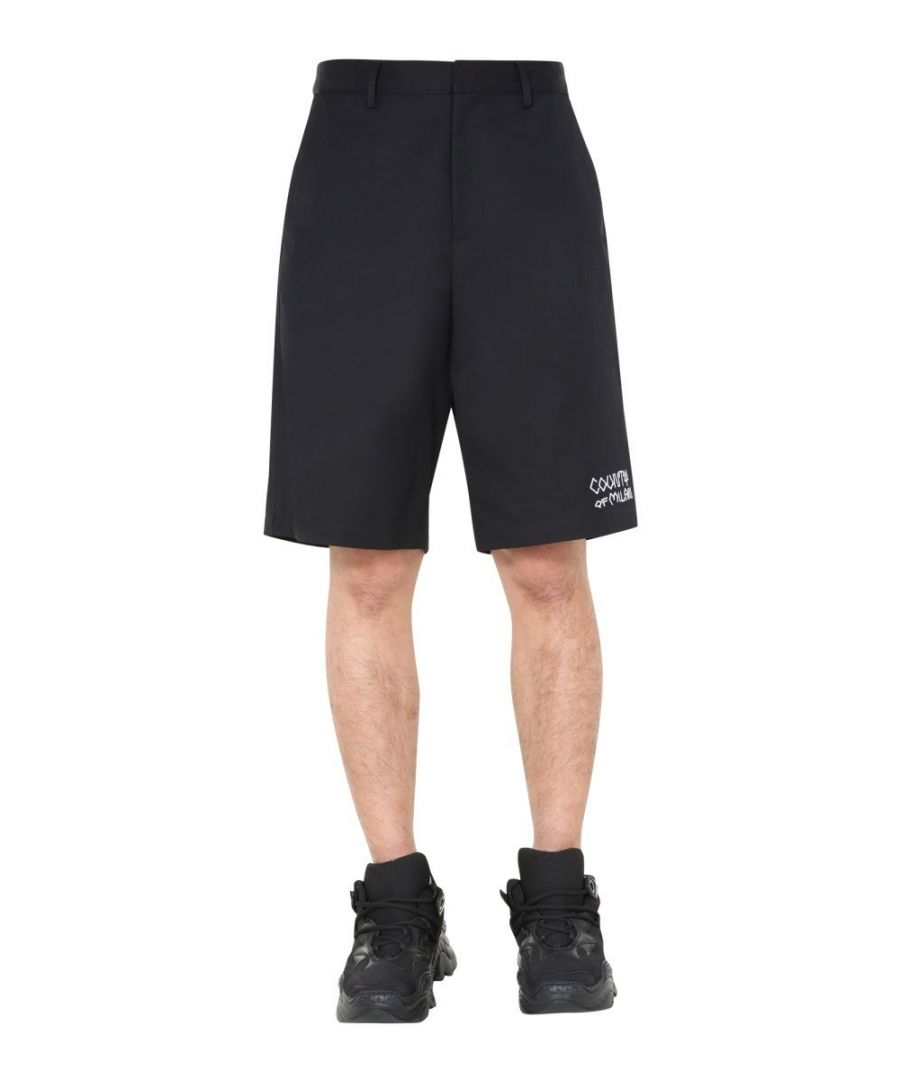 Image for MARCELO BURLON MEN'S CMCB059E20FAB0011001 BLACK COTTON SHORTS