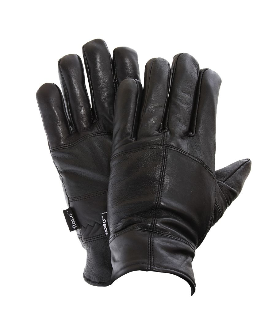 Image for FLOSO Mens Thinsulate Lined Genuine Leather Gloves (3M 40g) (Black)